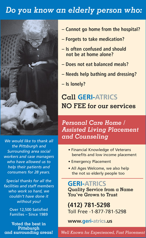 GERI-ATRICS Personal Care Home Placement & Counseling services